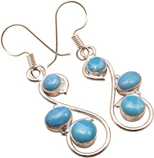 925 Sterling Silver Plated LARIMAR 3 Gemset Earrings Jewelry Online Store LOW PRICE GIFT ITEM