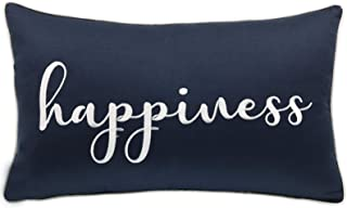 YugTex Pillowcases Embroidered Happiness Pillow Farmhouse Pillow Thow Pillow Cover,Quote Scatter Cushion Cover,Home Pillow,Birthday Gift,Home Decor, 12