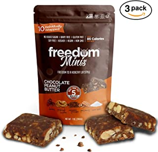 Freedom Minis, Healthy Fruit and Nut Bar - Dairy and Gluten Free, Organic Energy Snack - 10 pcs, Chocolate Peanut Butter Flavor Pack of 3