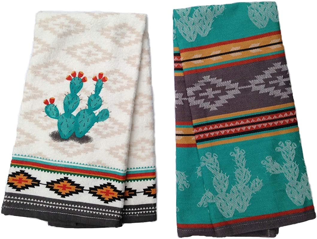 Simply Southwest Cactus Kitchen Towel Set Decorative Cactus Terry Towel Colorful Jacquard Tea Towel