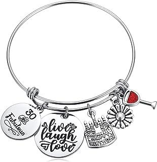 Birthday Gifts for Women Girls Bracelet Turning 10th 16th 30th 40th 50th 55th 60th 70th 75th Fabulous Happy Birthday Cake Charm Gift Ideas for Her