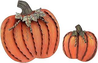 Grace Home Metal Pumpkin Decoration,Set of 2,Free Standing Metal Flat Pumpkins for Fall Harvest DecorThanksgiving Halloween Outdoor Decoration