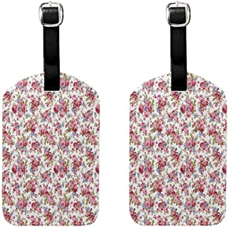 2 PCS Multi-patterned luggage tag House Decor Collection Rose Flower Pattern Passion Shabby Chic Style Love Wedding Celebrations Themed Image Double-sided printing Pink Olive Lilac
