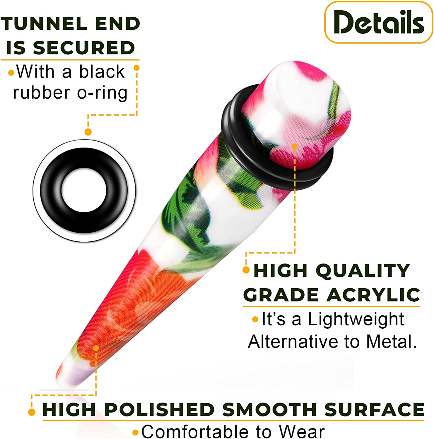 BIG GAUGES Pair of Colorful Straight UV Acrylic Taper Expander O-Rings Piercing Jewelry Ear Stretcher Plugs Stretching Earring Lobe