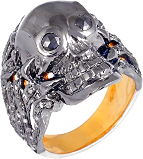 925 Sterling Silver Skull Ring With 1.03 Carat Brown Natural Diamond (I2-I3 Clarity ) For Women