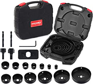 """Best Hole Saw Set HYCHIKA 19 Pcs Hole Saw Kit with 13Pcs Saw Blades, 2 Mandrels, 2 Drill Bits, 1 Installation Plate, 1 Hex Key, Max Size 6"""" and Min Size 3/4"""", Ideal for Soft Wood, Plywood, Drywall, PVC Reviews"""