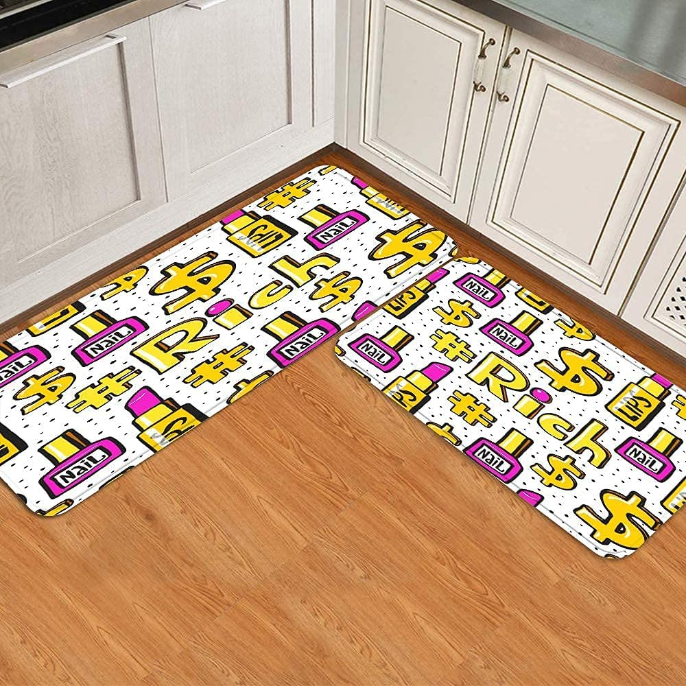 Midetoy Kitchen Rugs and Mats 2 in Fort Worth service Mall Gold Lipstick Pieces case Pi