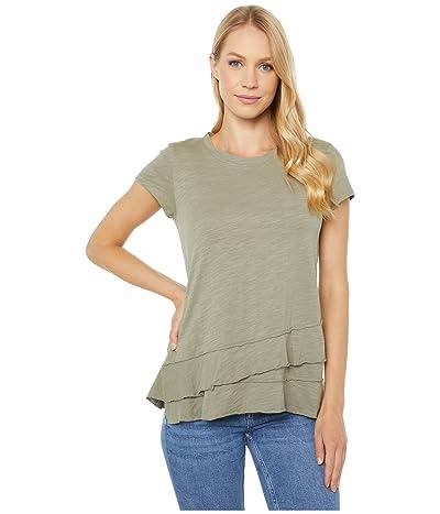 Mod-o-doc Slub Jersey Asymmetrical Flounce Hem T-Shirt (Cactus) Women