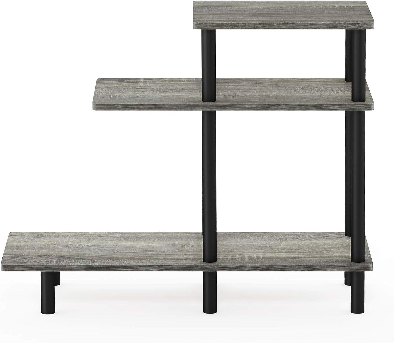 Furinno Turn-N-Tube 3-Tier Sofa Side Table, French Oak Grey/Black
