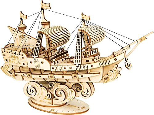 popular Rolife 3D Wooden high quality Puzzle Wood Ship Model wholesale Gift for Kids Adults(Sailing Ship) sale