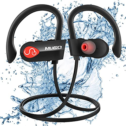 Wireless Headphones, Mugo Bluetooth Headphones Running Noise Cancelling In-ear Earbuds with Mic, IPX7 Waterproof Bluetooth Earphones for Gym Cycling Workout Carrying Case -- 10 Hours Long Battery Life
