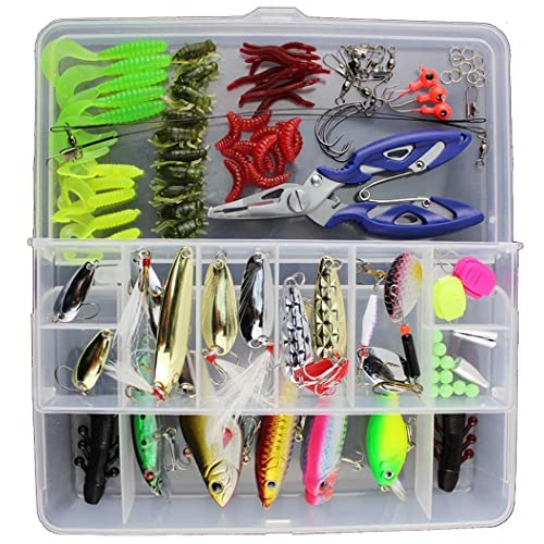 GossipBoy 101Pcs / Set Fishing Lure Kits Mixed Universal Assorted Fishing Lure Set with Fishing Tackle Box - Including Spinners, Worm, Spoons, Hard Lure, Sinking Lures, Treble Hooks ect