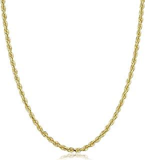 Cuerda de 14 quilates de 1,5 mm – 4 mm de corte de diamante cadena de oro para hombres y mujeres – 16 – 30, cierre de lang...