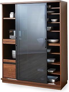 LOWYA ロウヤ 食器棚 キッチンボード 国産 ガラス 可動棚 スライド棚 ハイタイプ 幅140 ブラウン