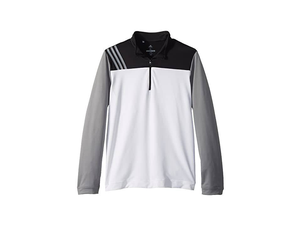 Image of adidas Golf Kids 3-Stripe Layering Jacket (Big Kids) (White) Boy's Coat