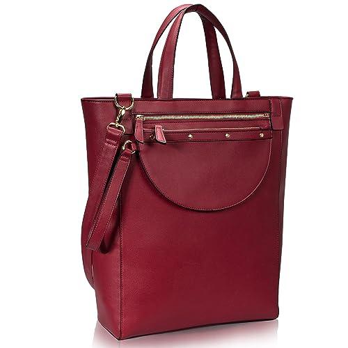 3c082a172 Estarer Women Large Laptop Handbag with Detachable Purse 15.6 Inch PU Leather  Tote Bag for Work