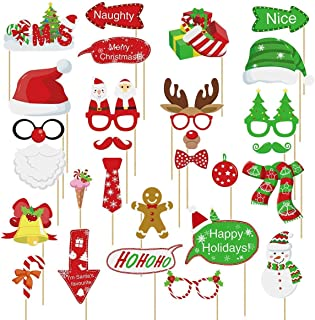 Amosfun 28PCS Christmas Photo Booth Props Christmas Party Photo Props Selfie Camera Posing Supplies for Christmas Party Decorations