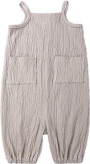 الصيف الوليد الطفل بنات بذلة الرضع الملابس onepece القطن رومبير بلا أكمام داخلية (Color : Gray, Size : 9M)