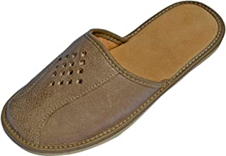 Men's House Slipper (Beige) - Made from Full Grain Genuine Leather - Closed-Toe Mens Slippers Indoor/Outdoor Shoes with Breathable Odor-Resistant Cushioned Sheepskin Sole.