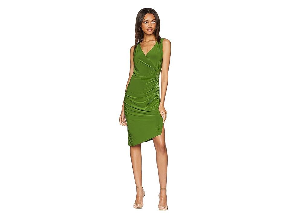 KAMALIKULTURE by Norma Kamali Sleeveless V-Neck Side Drape Dress (Olive) Women