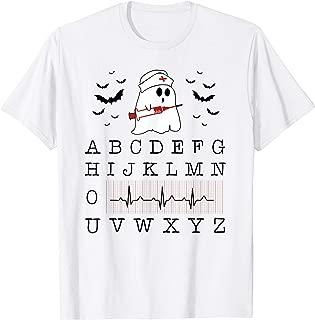 Alphabet Wave Heartbeat Boo Ghost Costume Nurse Halloween T-Shirt