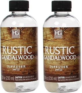 Hosley Set of 2 Premium Rustic Sandalwood Reed Diffuser Refills Oil 230 Milliliter 7.75 Fluid Ounce. Ideal Gift for Weddings spa Reiki Meditation Settings W1