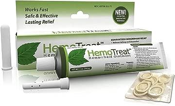 Hemorrhoid Treatment Cream FDA Listed - HemoTreat 1 Oz Tube with Internal Applicator - Fast Safe Effective Hemorrhoidal Symptom Relief, Ointment for Internal and External Hemorrhoids