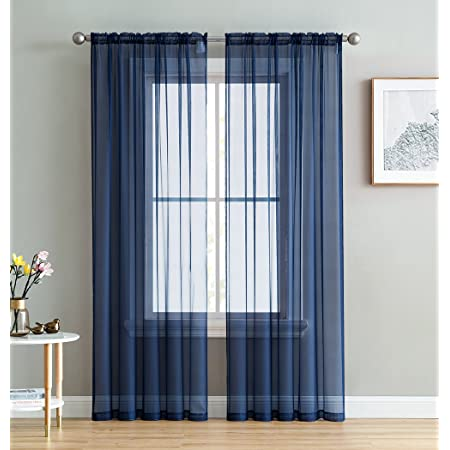 No 918 37359 Erica Crushed Texture Sheer Voile Rod Pocket Curtain Panel 51 X 84 Navy Blue Home Kitchen