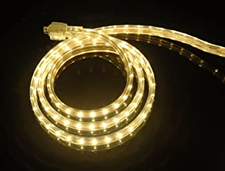 CBConcept UL Listed, 16.4 Feet, 1800 Lumen, 3000K Warm White, Dimmable, 110-120V AC Flexible Flat LED Strip Rope Light, 300 Units 3528 SMD LEDs, Indoor Outdoor Use, Accessories Included Ready to use