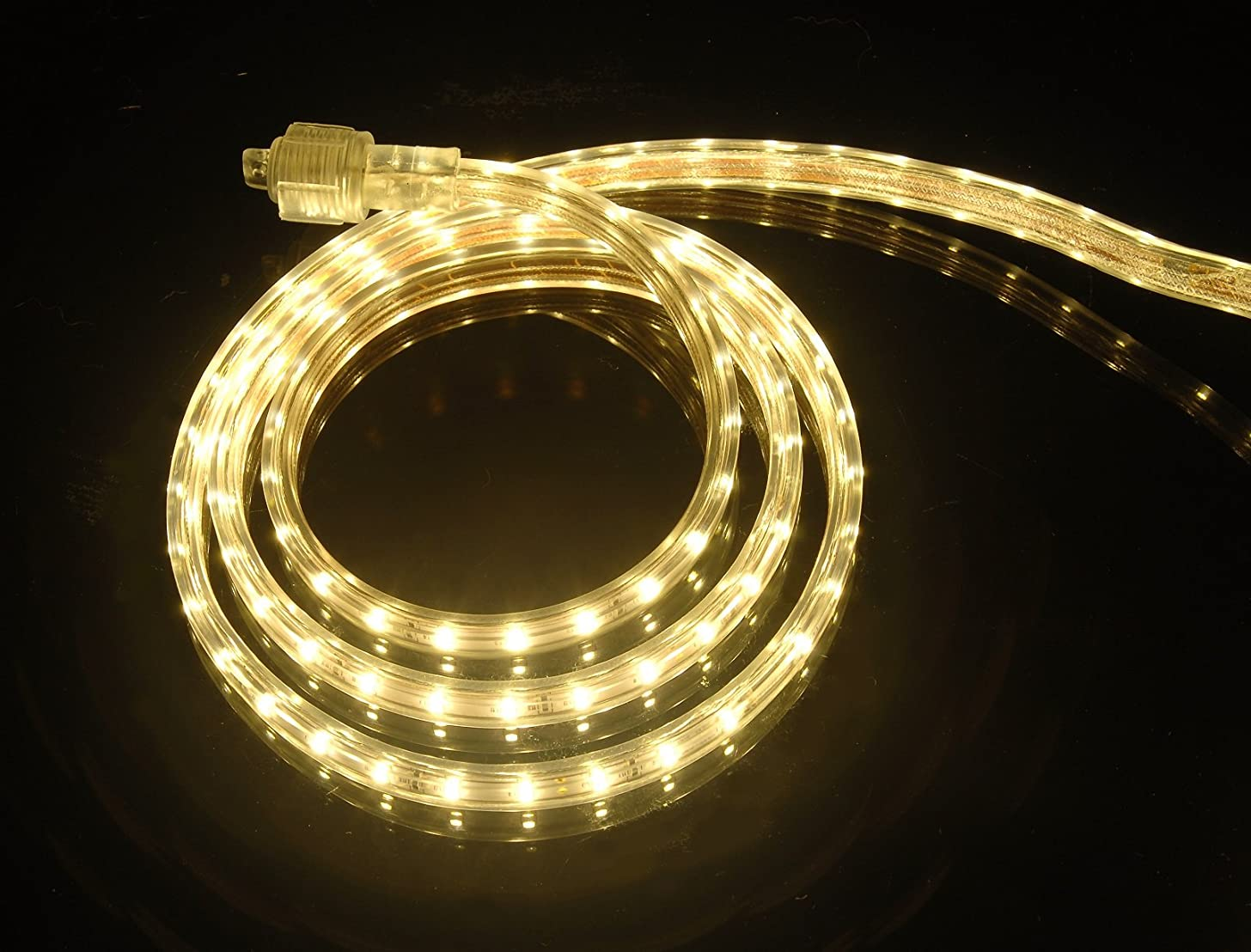 CBConcept UL Listed, 30 Feet, 3200 Lumen, 3000K Warm White, Dimmable, 110-120V AC Flexible Flat LED Strip Rope Light, 540 Units 3528 SMD LEDs, Indoor/Outdoor Use, Accessories Included, [Ready to use]