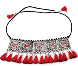 Sansar India Bollywood Oxidized Choker Thread Indian Necklace Jewelry for Girls and Women