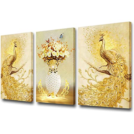 Colorful Abstract Art Peacock  5 Pcs Canvas Wall Art Print Picture Home Decor
