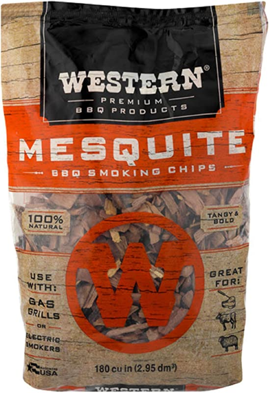 Western Premium BBQ Products Mesquite BBQ Smoking Chips 180 Cu In