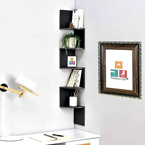 Furniture Cafe Wooden Wall Shelves   Corner Hanging Shelf for Living Room Stylish   Zig Zag Home Decor Floating Displ...