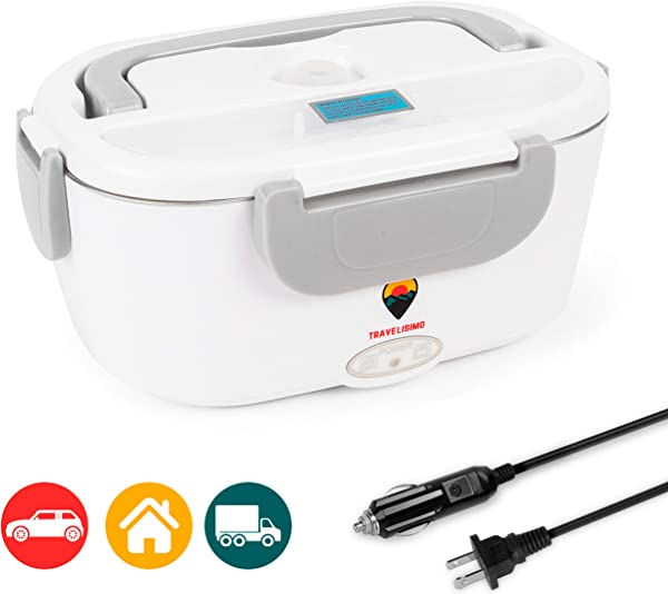 Electric Lunch Box 2 In 1 For Car Truck And Work 110V 12V 40W Stainless Steel Portable Food Warmer Heater 1 5L Spoon And 2 Compartments Included
