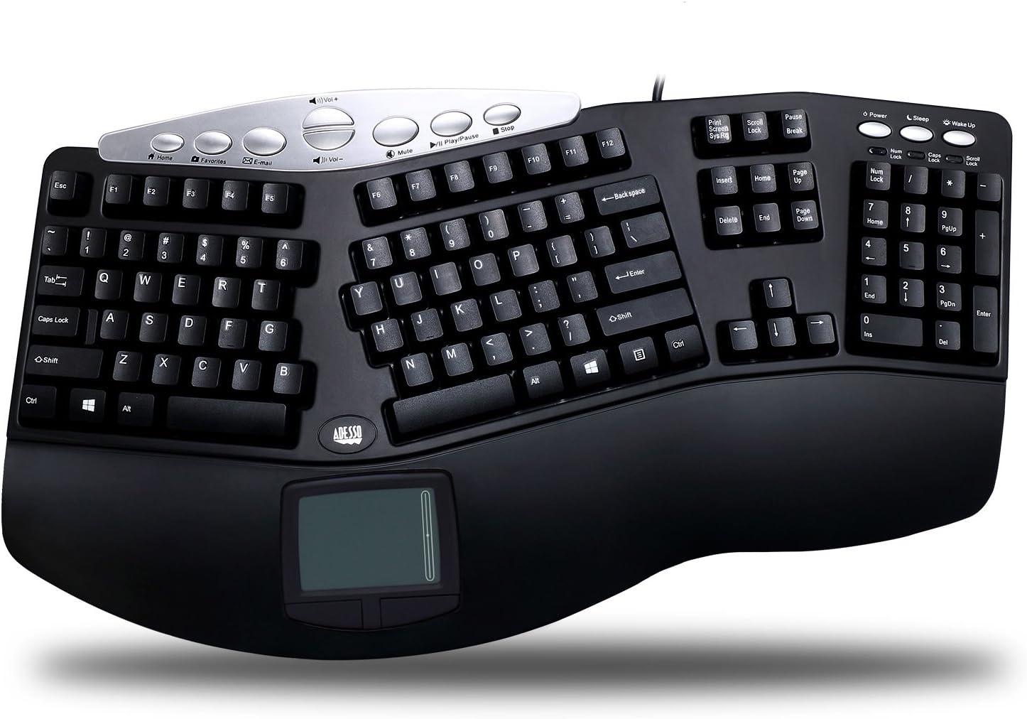 Adesso PCK-308UB - Tru-Form Pro Ergonomic Contour TouchPad USB Keyboard