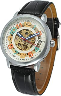 Unisex Colorful Different Color Numbers Watch White Dial Automatic Mechanical Black Leather Watch