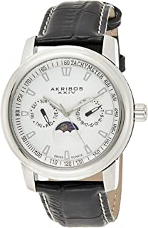Akribos XXIV Mens Quartz Watch, Analog Display and Leather Strap AK573SS