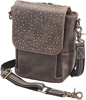 Concealed Carry Distressed Buffalo Leather Crossbody Satchel by Gun Tote'n Mamas