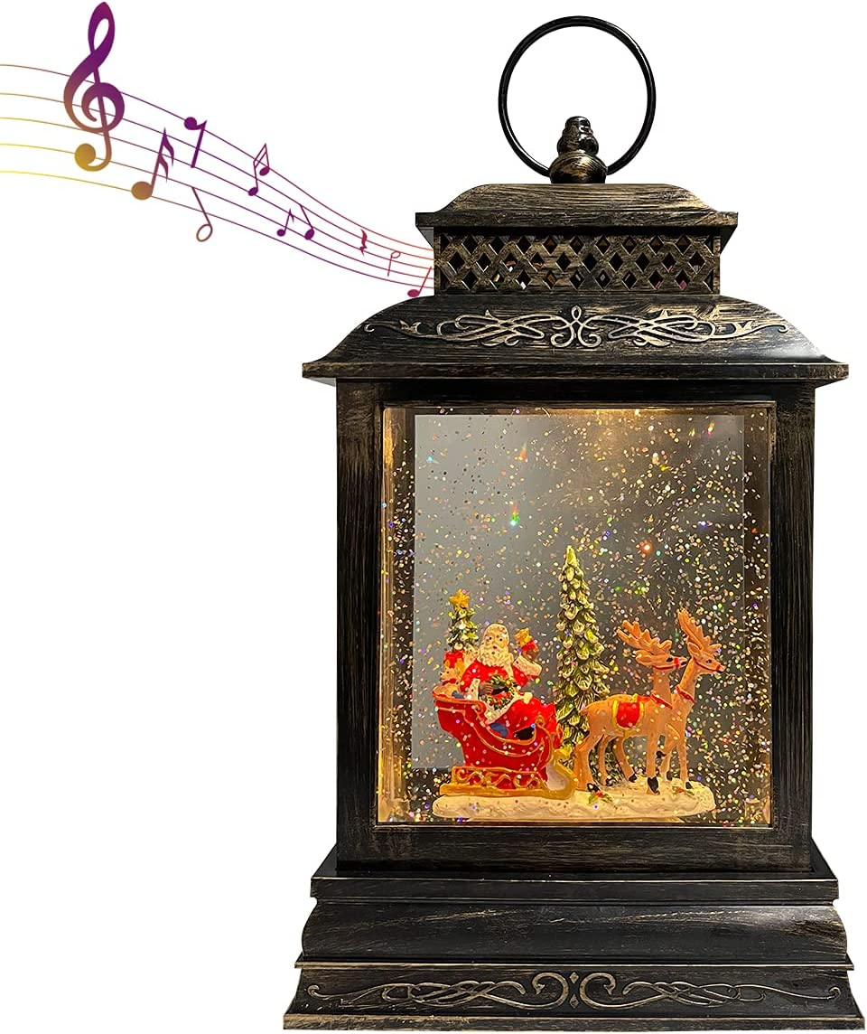 GOOSH Lighted Christmas Snow Globe Lantern, Santa Clause Reindeer Rocking Chair in Musical Decoration Gift with Battery Operated LED Water Glittering Music Playing with 6H Timer Home Decor