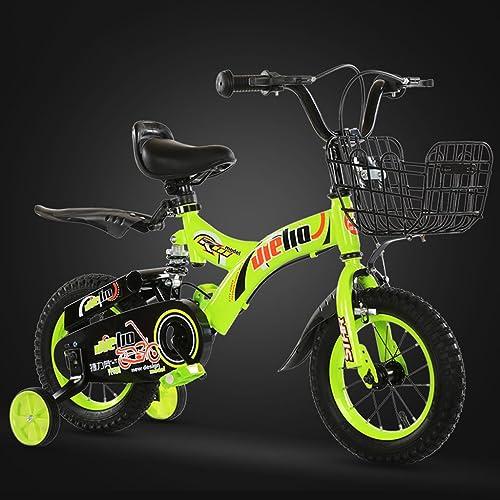 MLMHLMR Kinderfahrrad 14-Zoll-Fahrrad 3-7 Jahre alt Kinderfahrrad aus Kohlenstoffstahl Kinderwagen, blau Grün Kinderfahrrad (Farbe   Grün)