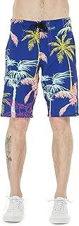 Men's Spandex Hawaiian Beach Board Shorts with Zipped Pocket in Crayon Palms