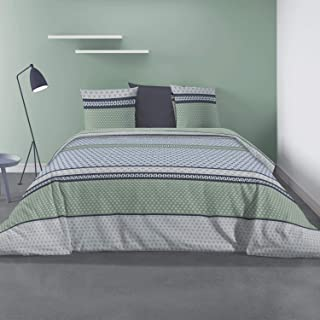 Les Ateliers du Linge - Parure Vaxo pour lit Double – Housse de Couette 240x260 cm et 2 taies d'oreiller 63x63 cm – Microf...