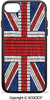 SCOCICI Non-Slip Drop Protection Smart Cell Phone Case Mosaic Tiles Inspired Design British Flag National Identity Culture Compatible with iPhone 8 Plus