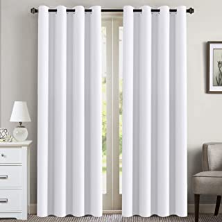Room Darkening Curtains for Living Room/Dining Room - Curtains 84 inches Long Easy Care Solid Window Treatment Thermal Insulated Grommet Curtains/Drapes (2 Panels, Pure White)