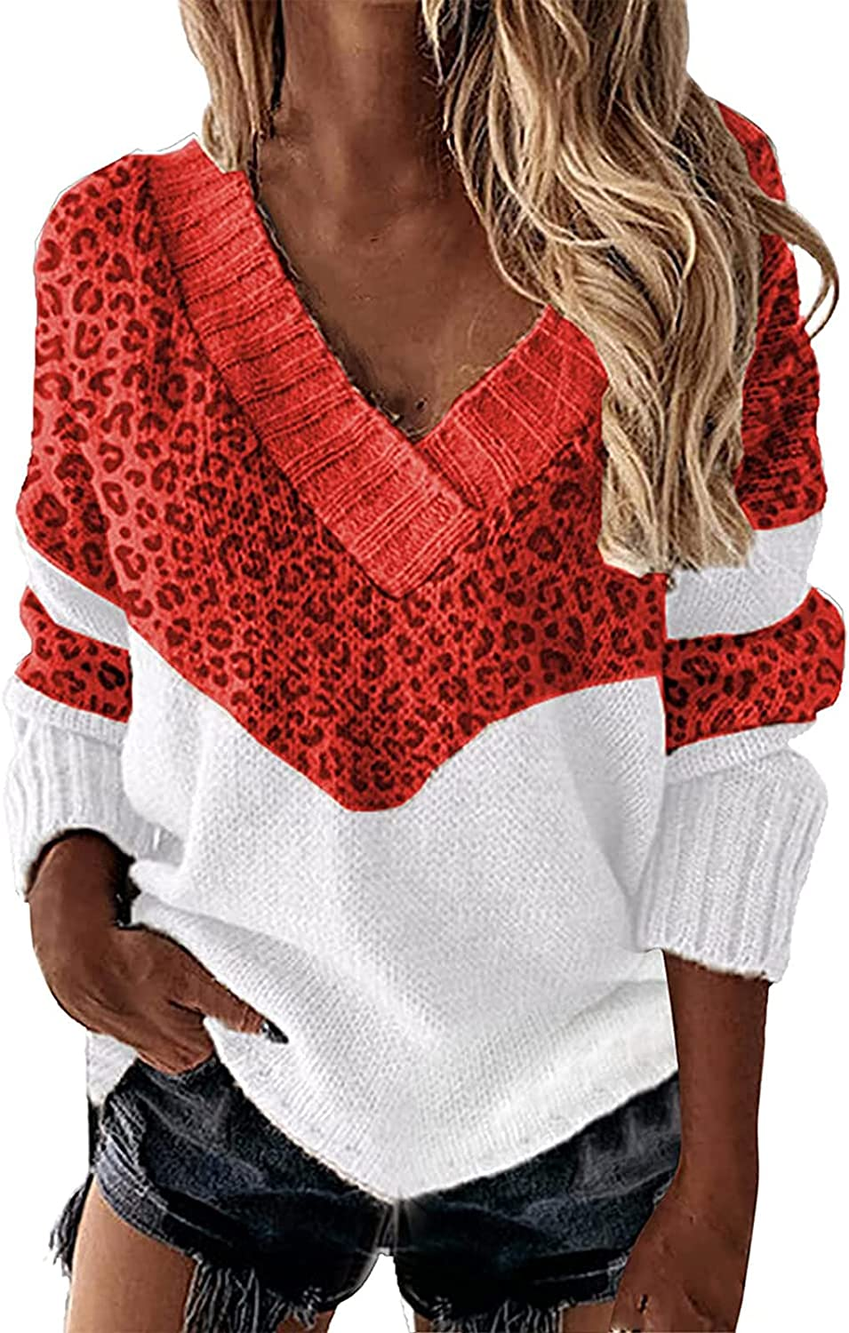 Womens Fashion V-Neck Sweater Tops Long Sleeve Color Block Knit Pullover Sweater Classic Hedging Sweater Blouse