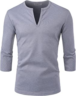 NEARKIN Men Casual Slit Neck 3/4 Sleeve Solid Color T Shirts