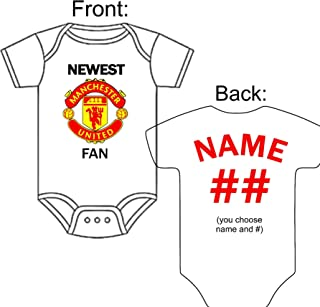 Custom-Made Personalized Newest Manchester United Football Club Bodysuit Soccer Jersey - Great Baby Announcement Reveal or Gift