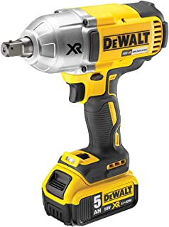 DeWalt DCF899P2-GB High Torque Impact Wrench 18V Cordless Brushless (2 x 5Ah Batteries), Yellow/Black, 2 x 5.0Ah Li-Ion