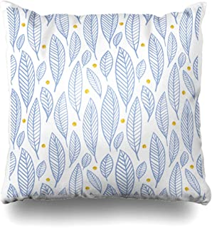 Ahawoso Throw Pillow Cover Shape Blue Fall Leaves Gold Circle Hand Dawn Pattern Rose Summer in Pantone Colors Serenity Quartz Zippered Pillowcase Square Size 16 x 16 Inches Home Decor Pillow Case